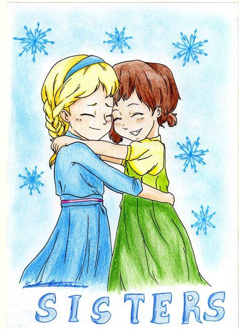Two Cartoon Sisters Hugging