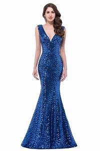 Sparkly Mermaid V Neck Corset Royal Blue Sequin Prom Dress