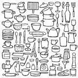 Coloring Doodle Doodles Cucina Equipment Drawn Cocina Scarabocchio Della Insieme Conjunto Objects Sketch Cozinha Keuken Colorir Shutterstock Ilustracion Depositphotos Utensilios sketch template