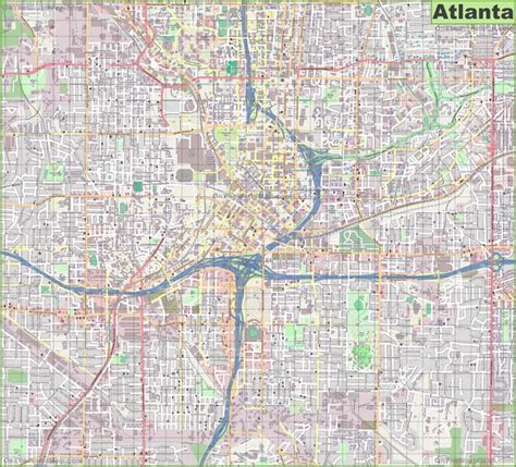 large detailed street map  atlanta