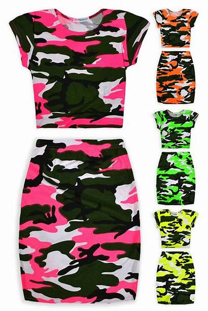 Crop Skirt Outfit Camo Neon Summer Ages