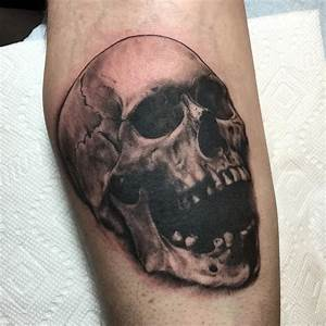 Realistic Black and Grey Skull Tattoo by Nic LeBrun : Tattoos