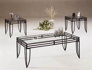 black metal base 3pc coffee table set w clear glass tops With glass and metal coffee table sets