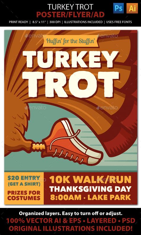 Turkey Running In A Turkey Trot Template turkey trot walk run event poster flyer or ad by