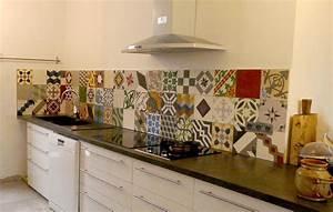 Crédence Carreaux De Ciment Adhesif : carreau ciment credence cuisine 1 cr233dence en ~ Premium-room.com Idées de Décoration