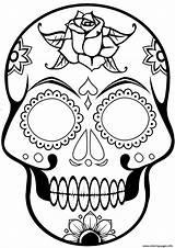 Skull Coloring Sugar Calavera Cool Printable sketch template
