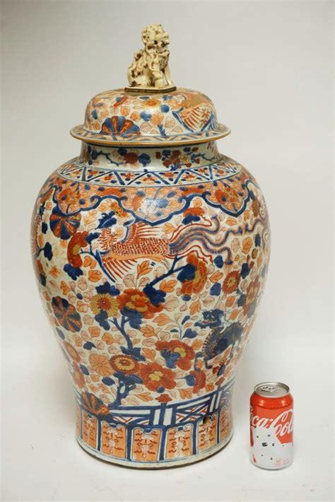 large asian porcelain floor urn  lid polychrome decorat