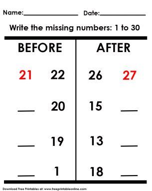 missing numbers worksheet number