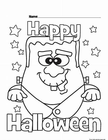 Coloring Halloween Monster Happy Printable Printabel Template