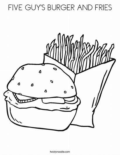 Burger Coloring Fries Five Guy Hamburger Built