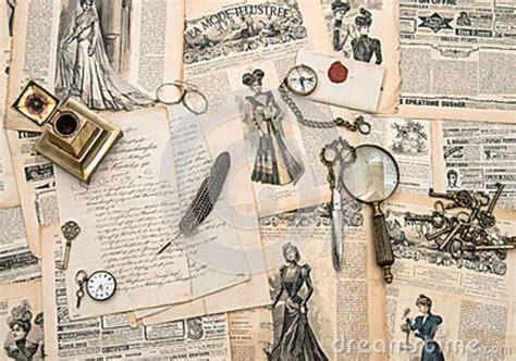 bureau de style mode accessoires antiques de bureau écrivant des outils magaz de mode de vintage photo stock