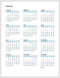 calendario en word gratis