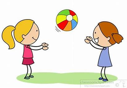 Ball Catch Playing Clipart Catching Throwing Children