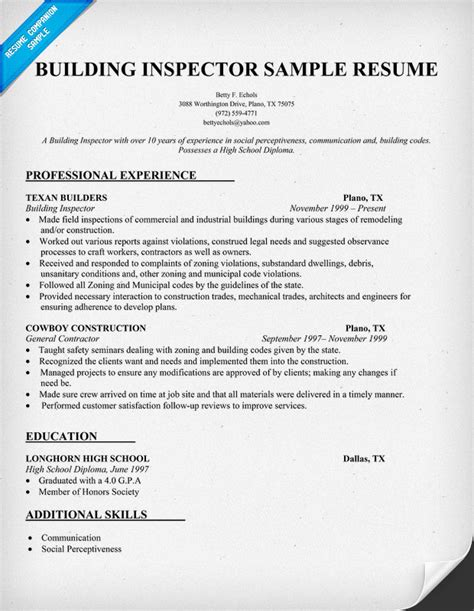 Resume Building by Resume Templates For Building Inspector Building