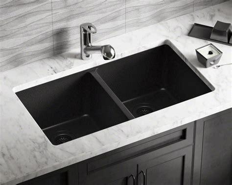 white kitchen black sink 802 black equal bowl trugranite kitchen sink 1327
