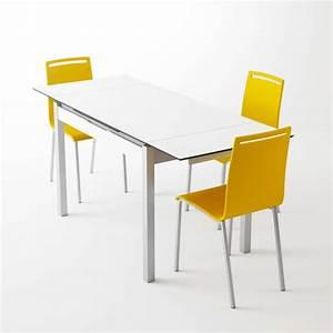 Petite table de cuisine en melamine blanc extensible avec for Table de cuisine pratique