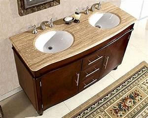 Silkroad, 55, U0026quot, Double, Bathroom, Vanity, Travertine, Top, White, Sinks