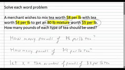 solving word problems with systems of equations algebra