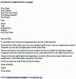 receptionist resignation letter example