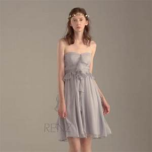 2016 grey bridesmaid dress gray ruffle chiffon wedding for Gray dresses for wedding