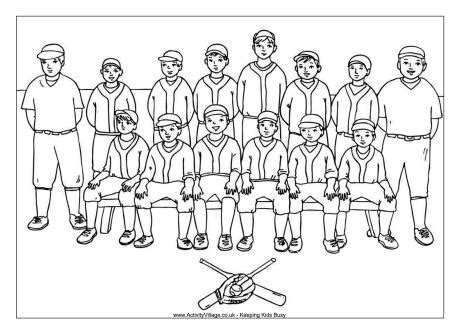 baseball team colouring page