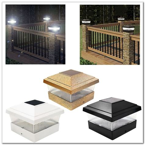 solar deck post lights solar powered deck post cap lights decks home