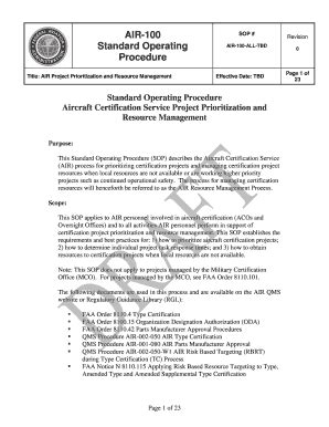Faa Standard Operating Procedure - Fill Online, Printable