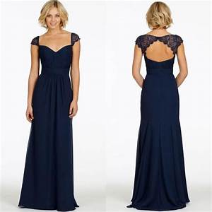 2015 cheap with cap sleeves v neck chiffon long navy blue for Long navy dress for wedding