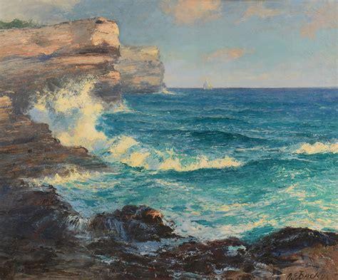 A.e. Backus Oil On Canvas Seascape, 25 X 30