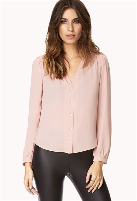 the blouse forever 21 dusty blouse in pink mauve lyst