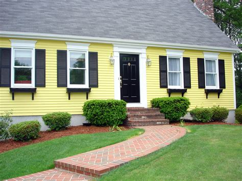 yellow exterior paint scheme home decorating