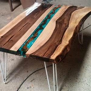 Table Resine Bois : walnut coffee table resin wood table pinterest r sine idee deco et id e ~ Teatrodelosmanantiales.com Idées de Décoration