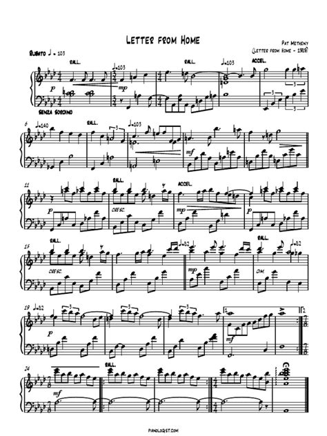 piano sheet pat metheny letter from home
