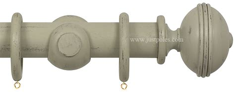 opus 63mm wood curtain pole distressed grey ribbed