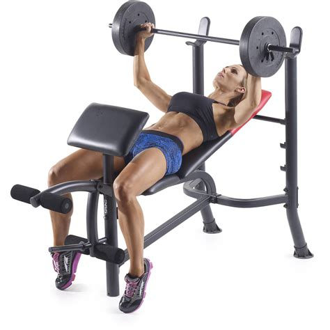 weight set and bench weider pro 265 standard bench with 80 lb vinyl weight set