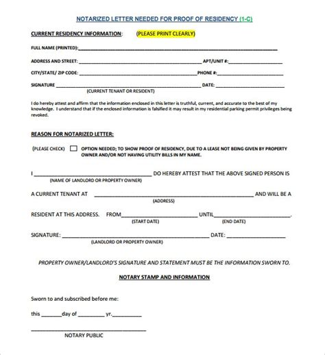 proof  residency letter notarized template business
