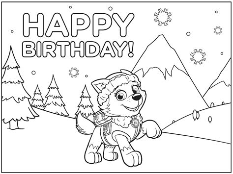 Large Paw Patrol Everest Free Colouring Pages