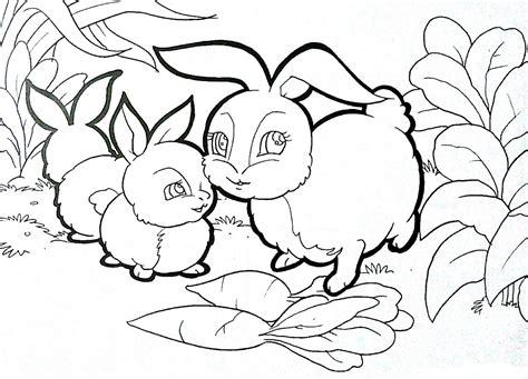 buku mewarnai halaman mewarnai binatang kelinci gratis