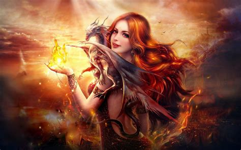 Cute Wallpapers For Laptops Dragon Fire Fantasy Girl Wallpapers Hd Wallpapers Id 16615