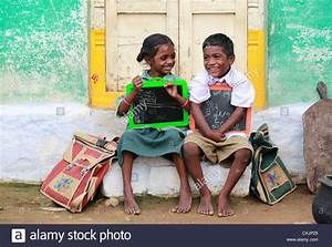 Indian school children best friends Andhra Pradesh South ...