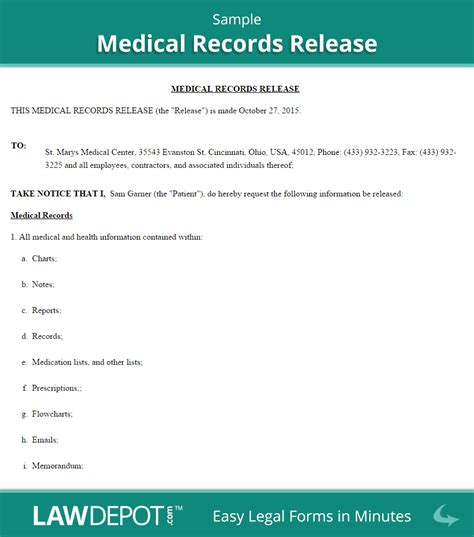 medical disclosure form templates  printable