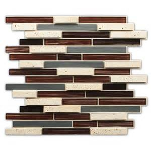 Cheap Glass Tiles For Kitchen Backsplashes Shop Instant Mosaic 2013 Brown Mixed Material Glass And Metal Mosaic Indoor Outdoor Peel And