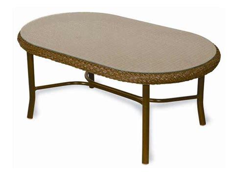 lloyd flanders weekend retreat oval patio glass coffee table