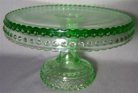 depression glass green pedestal footed cake plate stand