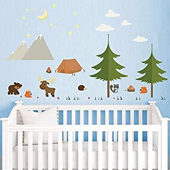 DecalMile Woodland Animals Wall Stickers Camping in The