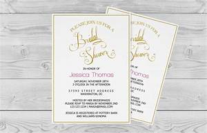 bridal shower invitation template golden calligraphy With free wedding invitation template 5x7