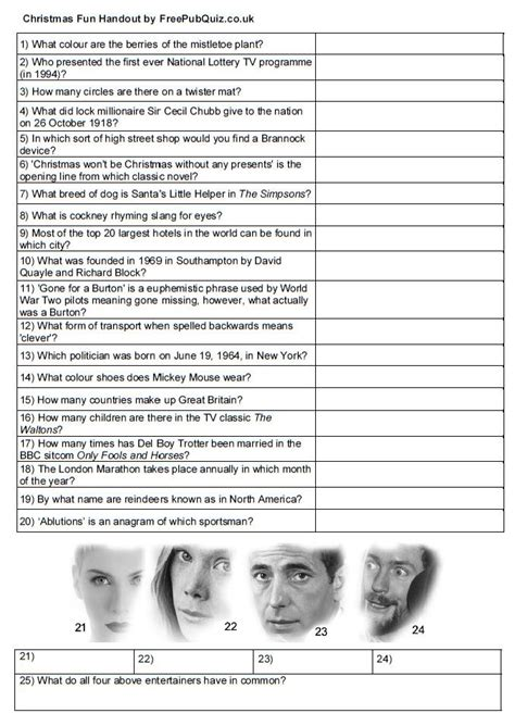 quiz handout print  enjoy  sheet