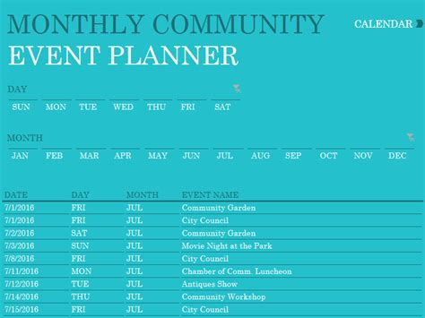 Community Events Calendar Template by Calendars Office