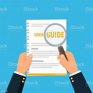 User Manual Closeup Businessman Hands Holding User Guide