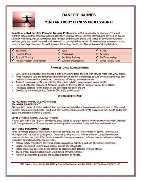 Personal Trainer Resume by Personal Trainer Resume Templates Unforgettable Personal T